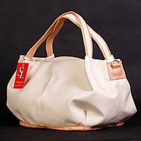 Большая кремовая сумка-мешок женская №1302