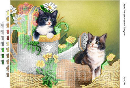 """Схема для частичной вышивки бисером """"Котики"""""""