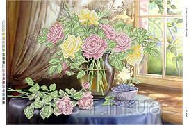 """Схема для частичной вышивки бисером """"Натюрморт с розами возле окна"""""""