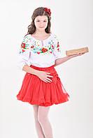 Нарядная детская блуза вышиванка для девочки с полевыми цветами