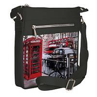 Серая сумка Покет с принтом Телефонная будка
