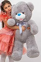 Мишка плюшевый с бантом серый 110 см