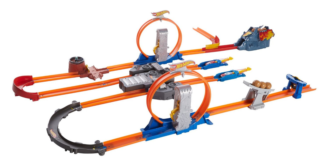 Трек Хот Вилс Двойное ускорение Hot Wheels Track Builder Total Turbo Takeover Track Set BGX89