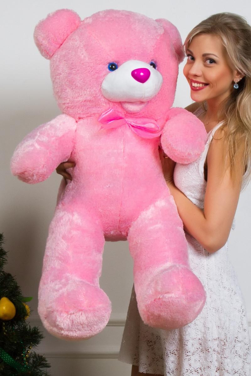 Мишка плюшевый с бантом розовый 110 см