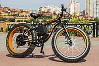 Электровелосипед Чёрно-оранжевый (Фэтбайк) LKS Fatbike  Electro Rear Drive