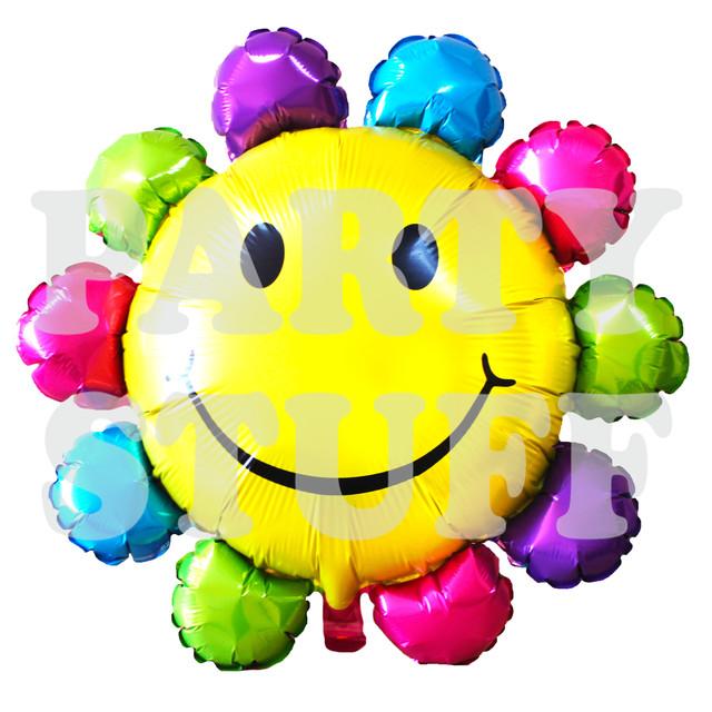 Фольгированный шарик смайл кружевной, цветной