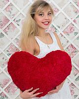 Огромное плюшевое сердце с атласом красное 45 см
