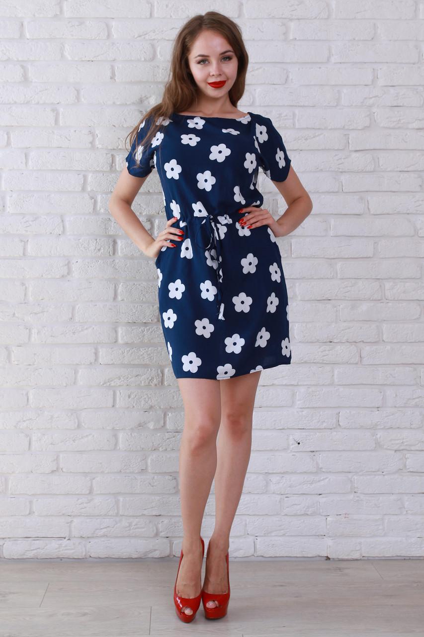 a3e0ddf694b7 Темно-синее шифоновое платье в белый цветочек с карманами -  Оптово-розничный магазин одежды