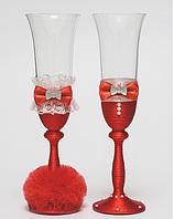 Свадебные  бокалы Клеопатра, красные