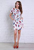 Легкое повседневное платье из креп-шифона с ярким рисунком