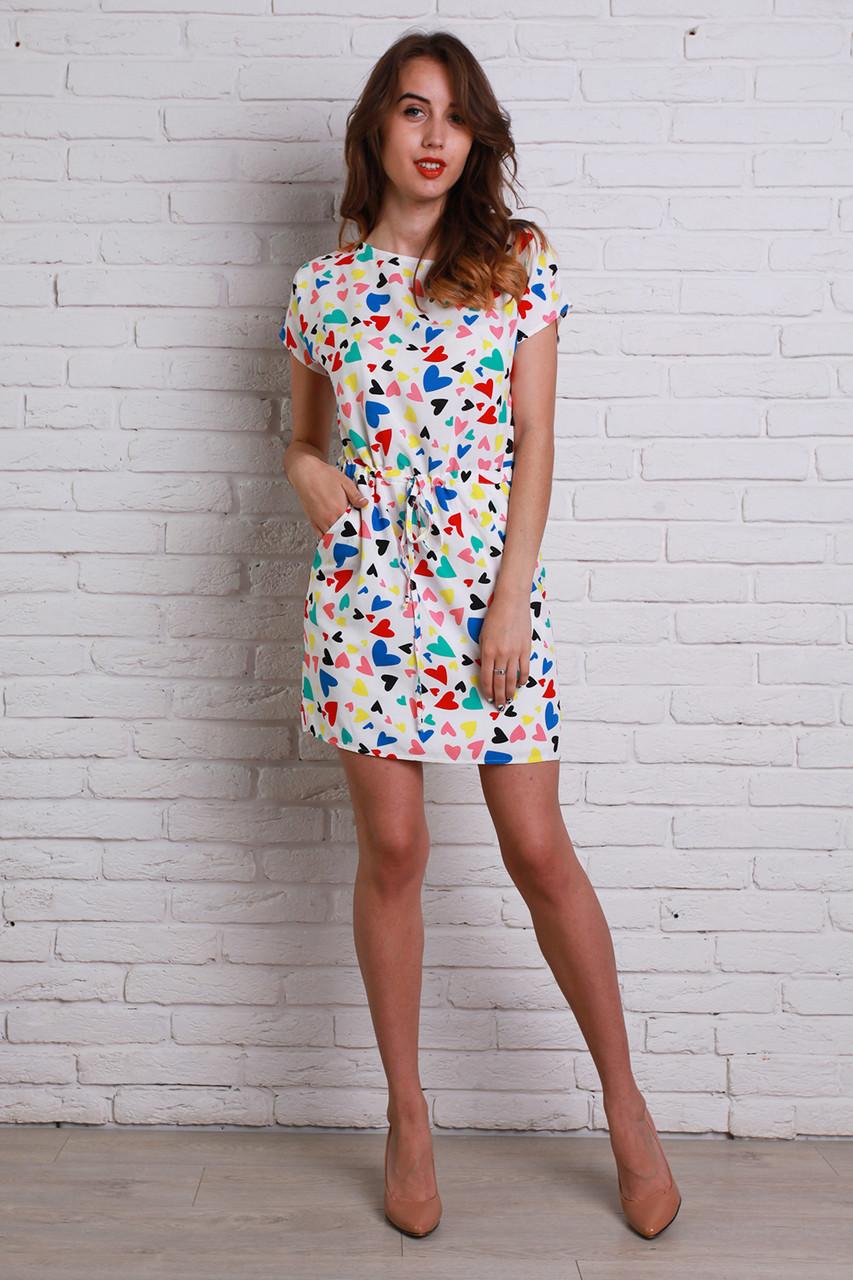 a2ddc8bb0a19c80 Классное молодежное платье белого цвета с ярким рисунком, цена 280 грн.,  купить в Хмельницком — Prom.ua (ID#330598218)