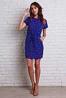Легкое штапельное платье синего цвета с модным принтом губки
