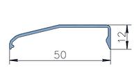 KMD.F50.KD02.Профиль крышки декоративной наклонной 12 мм (6,0 м)  Белый RAL 9016