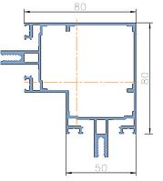 KMD.F50.ST80*2.Профиль стойки 80 мм под 90° RAL