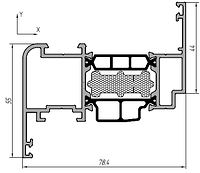 KMD.70.SV02 Профиль створки 44 мм (6,5 м)  RAL 9016 белый