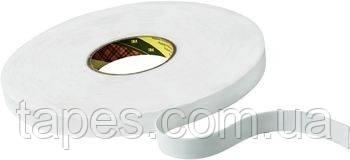 Двусторонняя клейкая лента 3М 9508W на вспененой основе, белая,12мм х 66м х 0,8мм, акриловый адгези