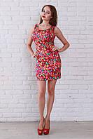 Удобное повседневное платье в ярком цвете без рукавов