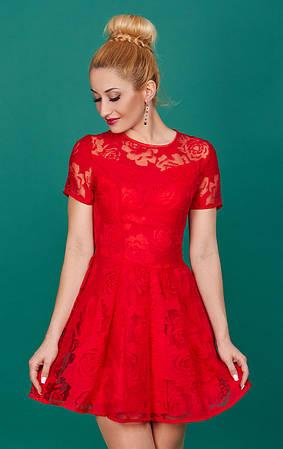 Нарядное и красивое женское платье Лика 768-1 цвет красный