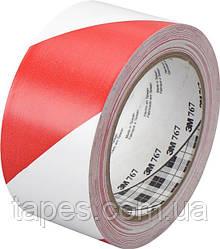 3М 767I Виниловая односторонняя клейкая лента, 0,125мм х 50мм х 33м, красно-белая