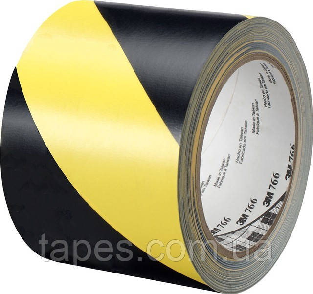 3М 766I Разметочная клейкая лента, желто-черная, 0,125мм х 50мм х 33м