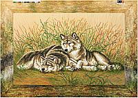 """Схема для вышивки бисером на подрамнике (холст) """"Пара волков - нежность"""""""
