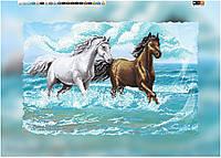 """Схема для вышивки бисером на подрамнике (холст) """"Пара прекрасных лошадей"""""""