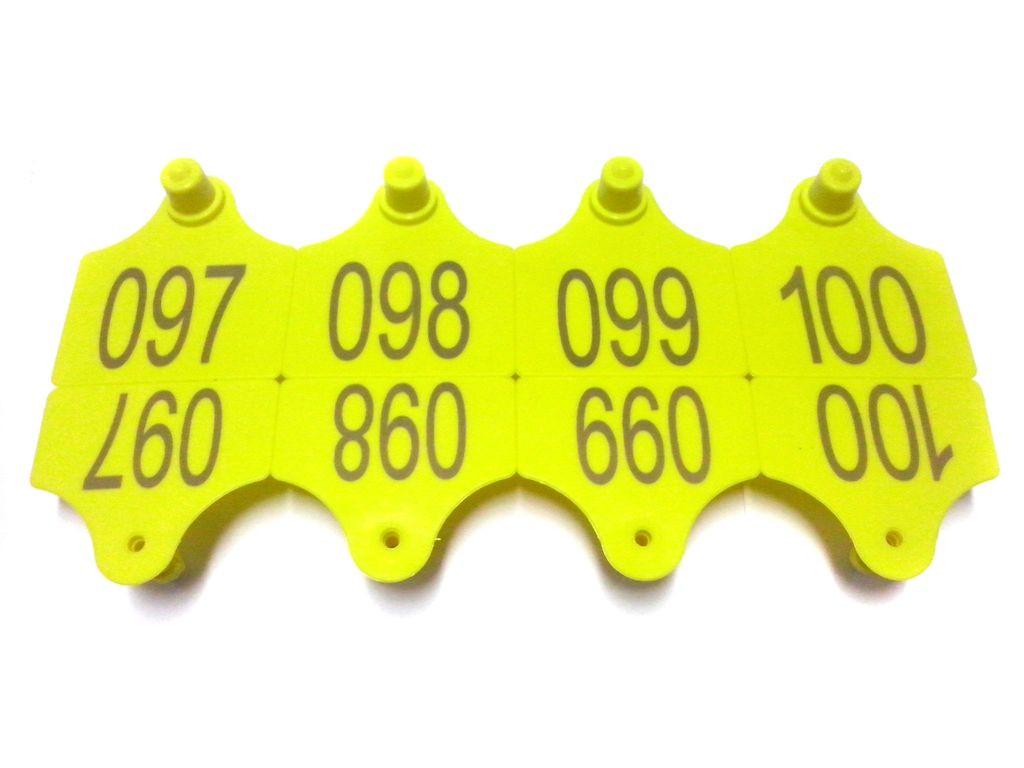 Вушні бирки 40х36 з номером, двосторонні.