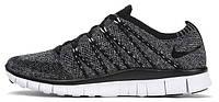 Мужские кроссовки Nike Free Flyknit NSW Black White Oreo (Найк Фри Ран Флайнит) черные