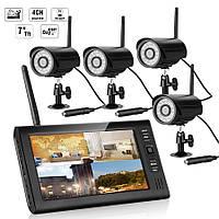 """Комплект беспроводного видеонаблюдения: видеорегистратор с 7"""" монитором и 4 видеокамеры KIT-HD74"""