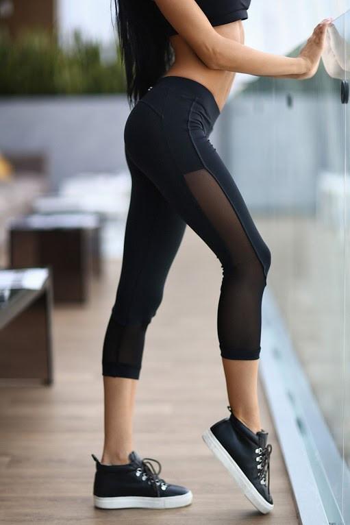 леггинсы для фитнеса Sexy Black Net capri