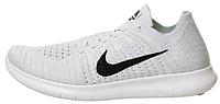 Мужские кроссовки Nike Free Run Flyknit (найк фри ран флайнит) белые