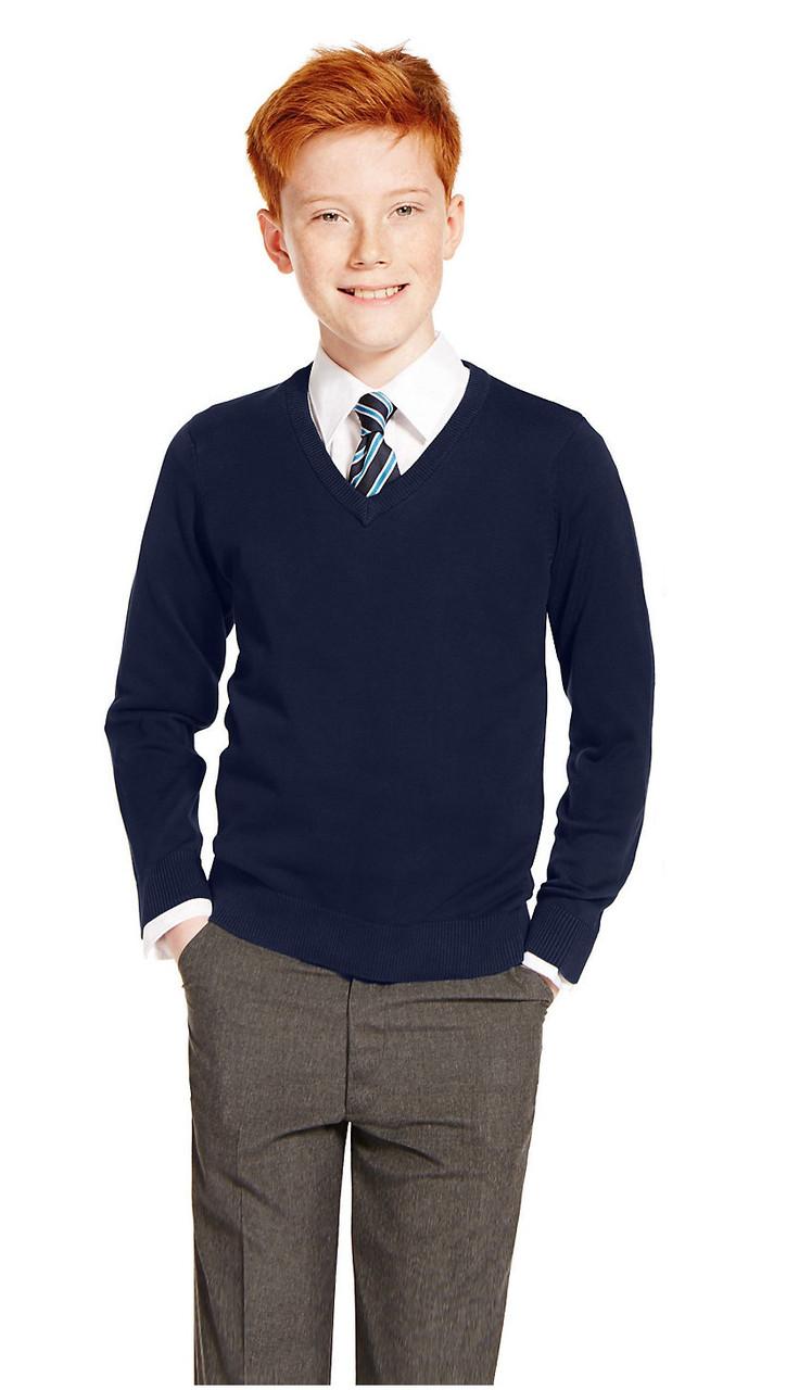 Классический школьный джемпер тёмно-синий на мальчика 5-6, 7-8, 9-10 лет Marks&Spencer (Англия)