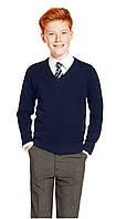 Классический школьный джемпер тёмно-синий на мальчика 5-6, 7-8, 9-10 лет Marks&Spencer (Англия), фото 1