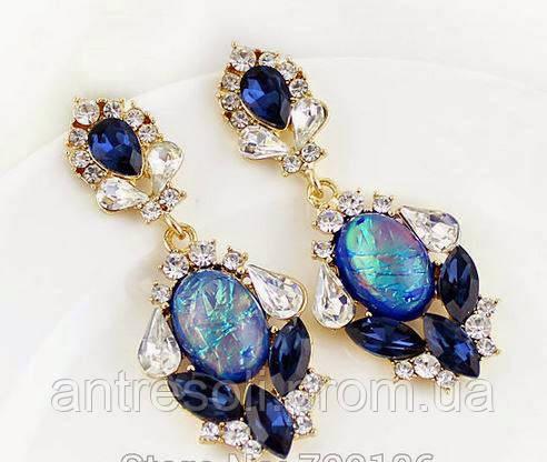 Серьги с синими камнями код 557