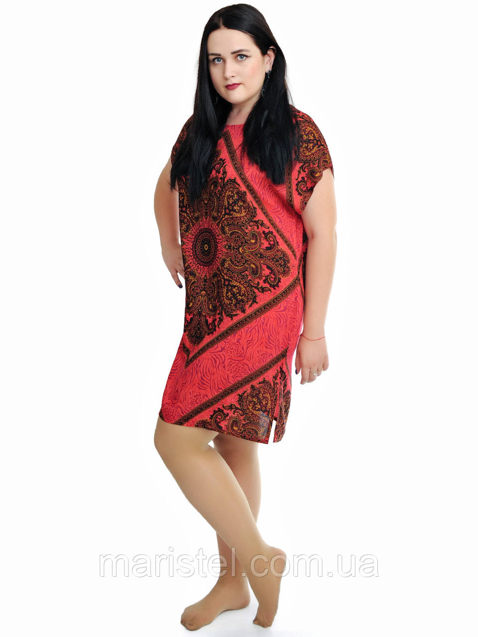 Женская туника с орнаментом красная