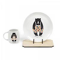 Набор посуды тарелка и чашка Сонный мишка