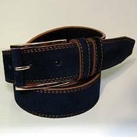 Ремень кожаный замшевый мужской JK темно-синий (6180-2)