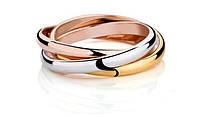 Тройное кольцо, покрытое тремя видами золота р 17,5 18 18,5 код 739
