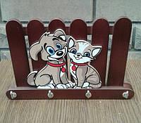"""Ключница """"Дружба,кот и пес"""" дуб"""