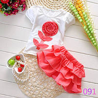 Летний детский костюм футболка юбка