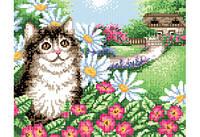 """Схема для вышивки бисером """"Кот в цветах"""""""