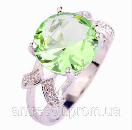 Кольцо с зеленым аметистом, покрытое серебром р 21 код 822