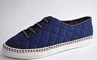 Кроссовки женские стеганные синие текстиль (мокасины, комфорт, на резинках) Размер 36, 38, 39