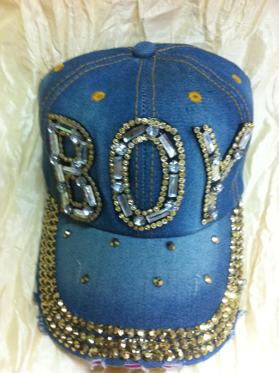Джинсовая кепка со стразами и камнями (BOY)