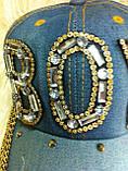 Джинсовая кепка со стразами и камнями (BOY), фото 2