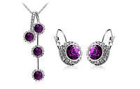 Набор украшений с фиолетовыми кристаллами код 870