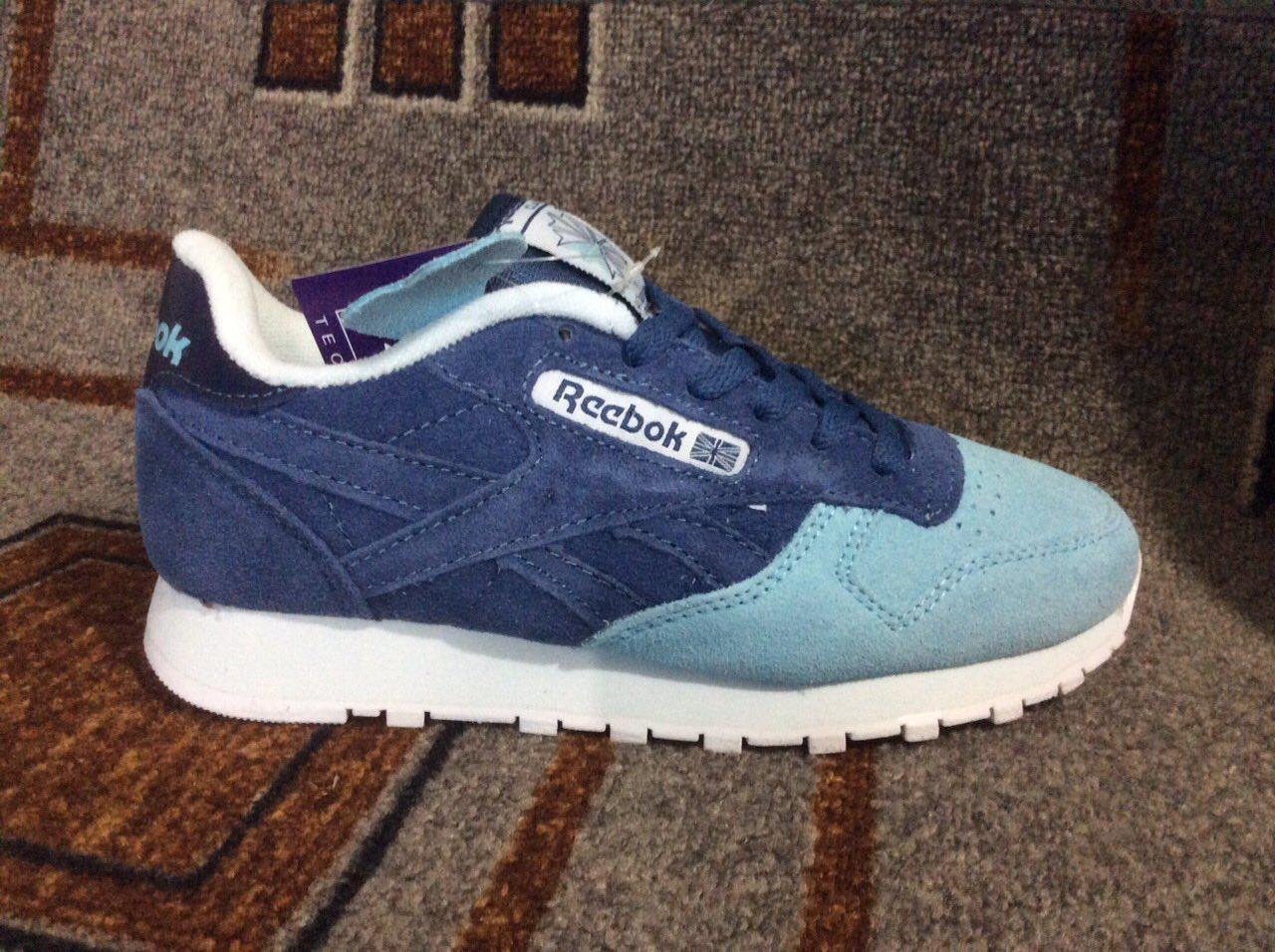 08098ed69738 Подростковые женские кроссовки Reebok синие с бирюзой замша реплика + живые  фото