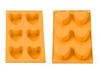 Силиконовая форма для пирожных, сердечки, апельсин.