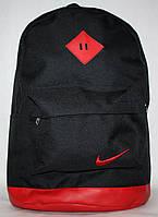 Спортивный городской рюкзак Nike с кожаным дном черный красный
