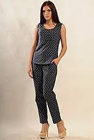 Прямые летние брюки коттоновые классического кроя: зауженные к низу 42-52 размер